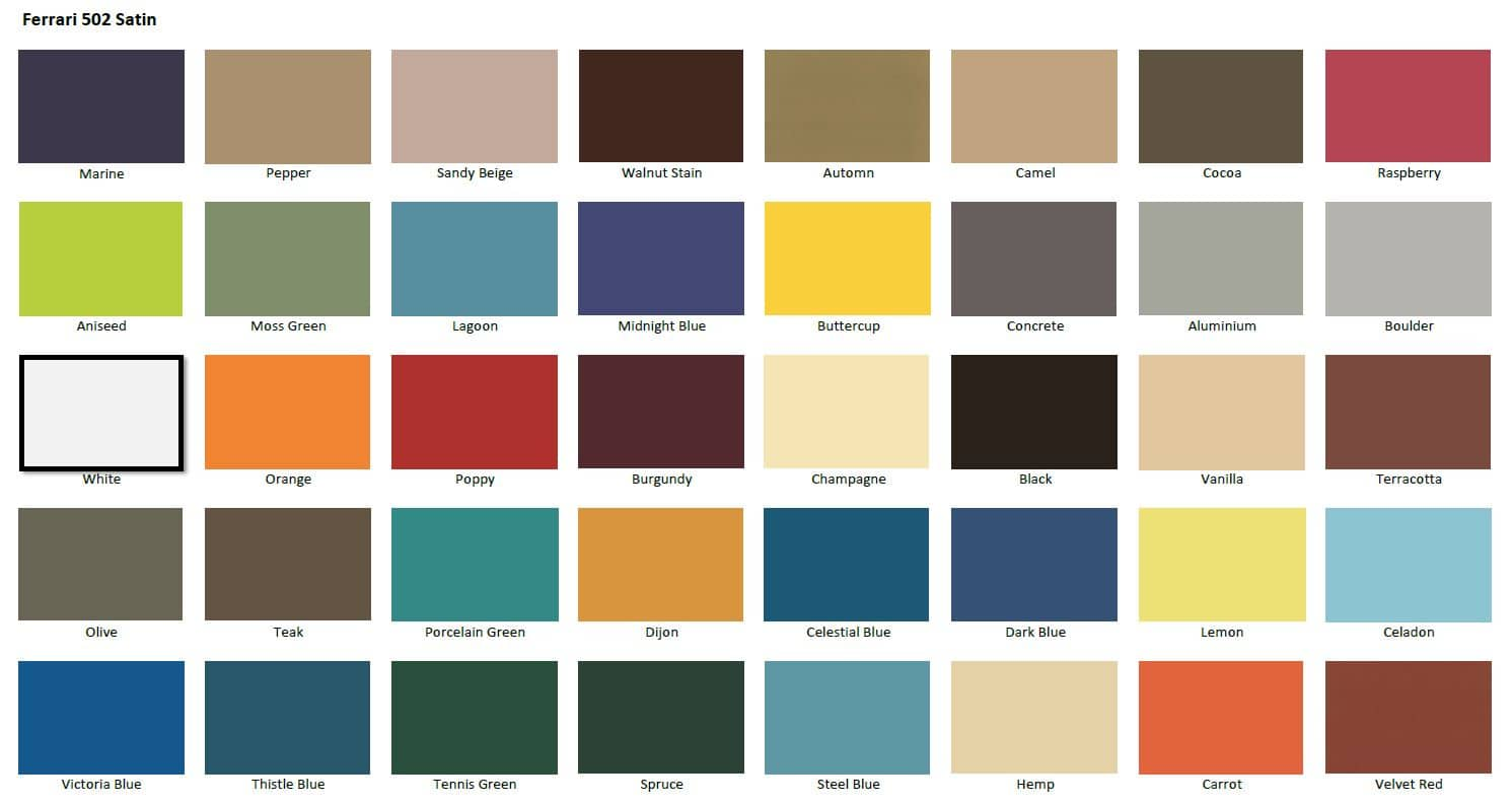 502 Satin fabric colours
