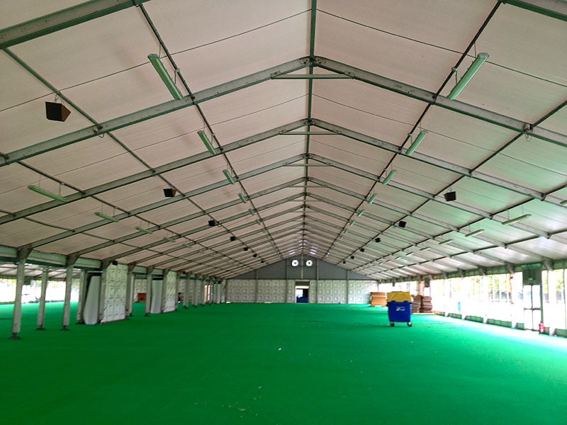 closed interior of a large marquee