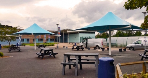 outdoor shade sails in the form of large umbrellas