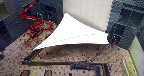big white tensile canopy