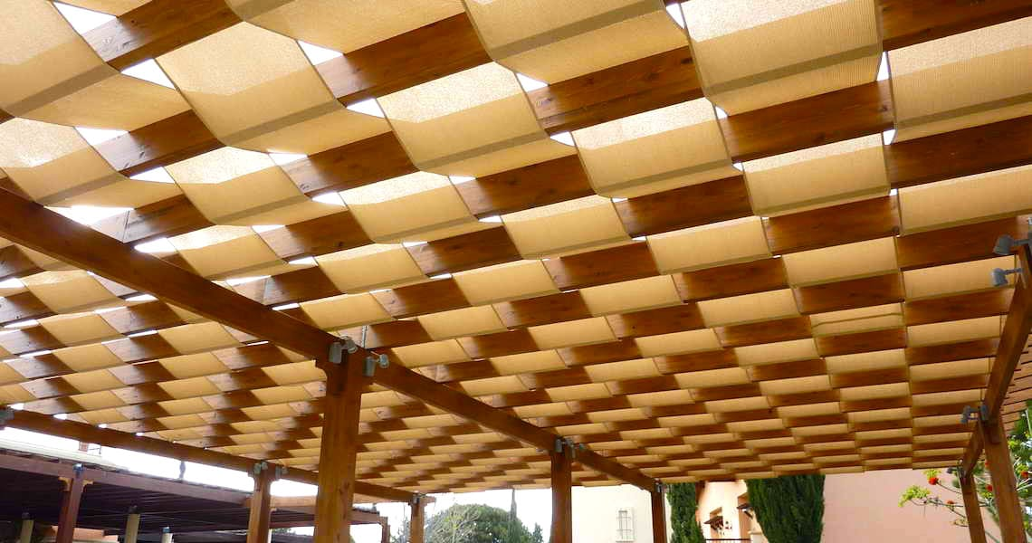 custom shade architecture with wooden construction