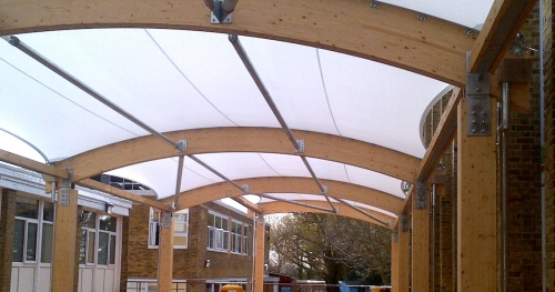 white tensile canopy roof in custom form