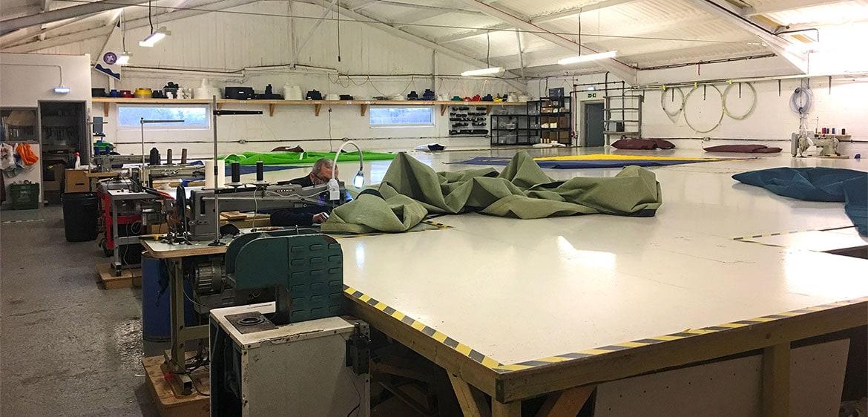 green shade sail repair in SD Sails workshop