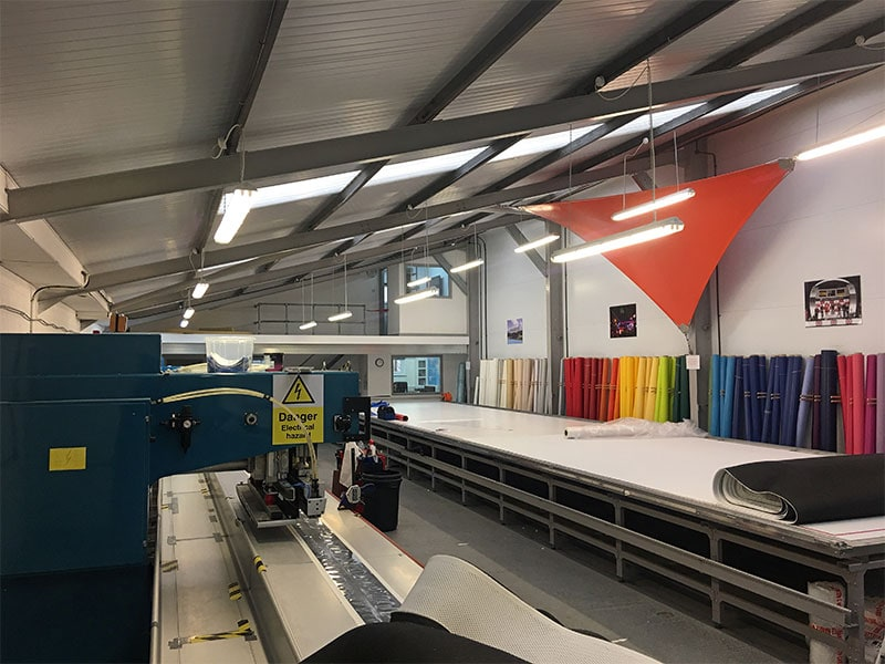 HF welding machine and fabrics in SD Sails workshop